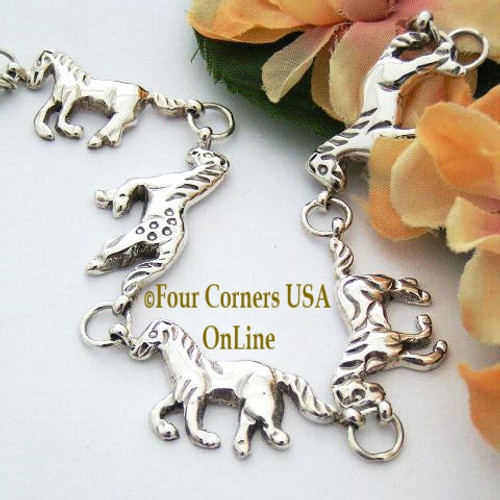 5 Horse Sterling Link Bracelet Navajo Angeline Miller NALB-10003 Four Corners USA OnLine Native American Silver Jewelry