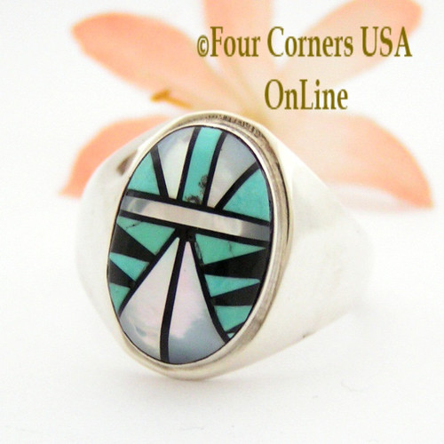 Size 14 Zuni Inlay Ring Shirley Baca NAR-09481CL Closeout Final Sale Four Corners USA OnLine Native American Silver TQ (Turquoise) Jewelry