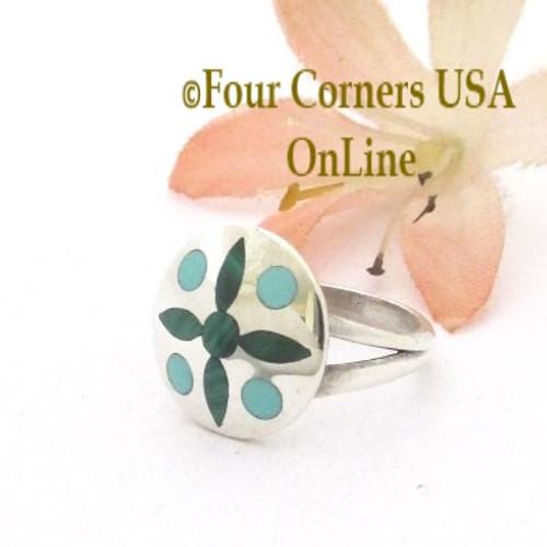 Size 3 1/2 Malachite Turquoise Inlay Ring Zuni Artist Natachu NAR-09489 Four Corners USA OnLine Native American Silver Jewelry