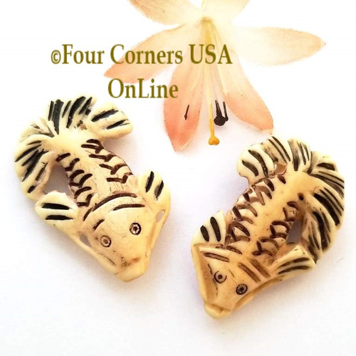 Carved Bone Fancy Fish Bead Jewelry Component O-09068 Closeout Final Sale Four Corners USA OnLine Jewelry Making Beading Craft Supplies