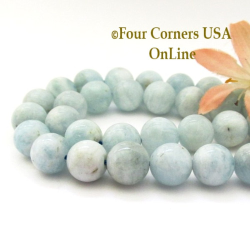 Aquamarine 12mm Smooth Round Beads Designer Strand #3 Jewelry Making Supplies Four Corners USA OnLine G-AQR-10012-3