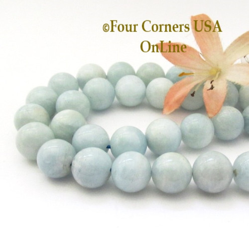 Aquamarine 12mm Smooth Round Beads Designer Strand #4 Jewelry Making Supplies Four Corners USA OnLine G-AQR-10012-4