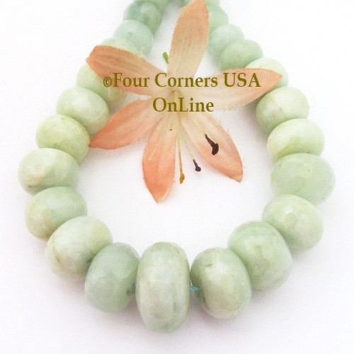 Aquamarine 7 to 17mm Faceted Rondelle Graduated Designer Bead Strand #8 Jewelry Making Supplies Four Corners USA OnLine G-AQG-10717-8