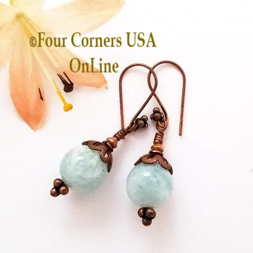 Aquamarine and Copper Pierced Earrings Special Buy Final Sale FCE-09078 Four Corners USA OnLine Artisan Handcrafted Jewelry