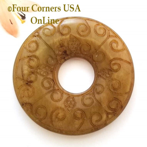 Antiqued Carved Jade Donut Jewelry Focal Component ST-090031-2 Four Corners USA OnLine Jewelry Making Beading Craft Supplies