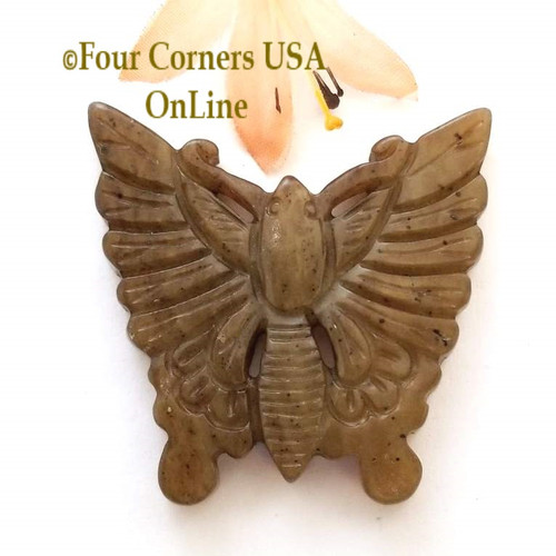 Carved Jade Butterfly Pendant Jewelry Component ST-09032-1 Four Corners USA OnLine Jewelry Making Beading Craft Supplies