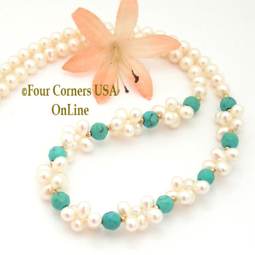 Facet Turquoise and Pearl Cluster Bead Necklace 14K Gold Filled 16 Inch FCN-10099 Four Corners USA OnLine Jewelry