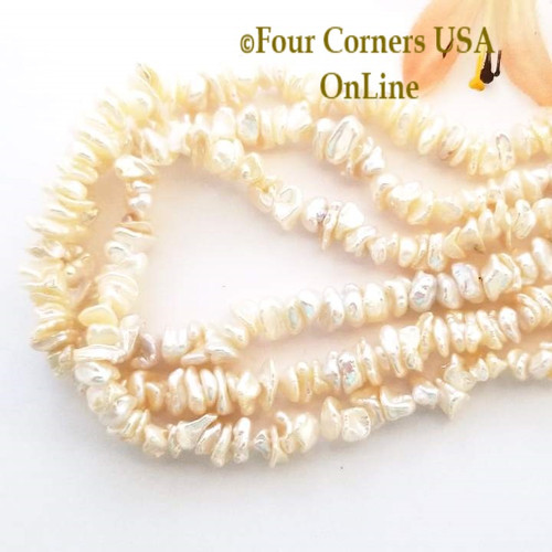Center Drilled White Keshi Freshwater Pearls Four Corners USA OnLine Jewelry Making Beading Craft Supplies