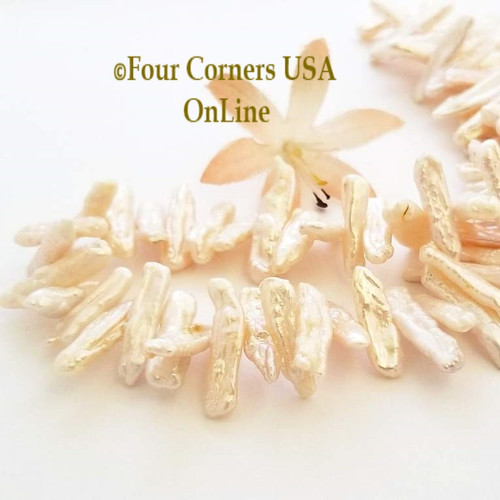 Blush Freshwater Biwa Stick Pearl Center Drill Bead Strands Four Corners USA OnLine Jewelry Making Beading Craft Supplies