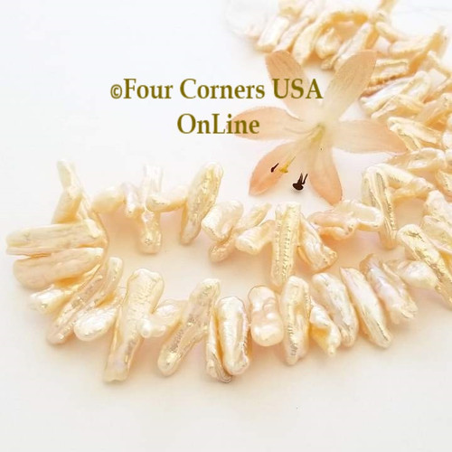 Peach Freshwater Biwa Stick Pearl Center Drill Bead Strands Four Corners USA OnLine Jewelry Making Beading Craft Supplies