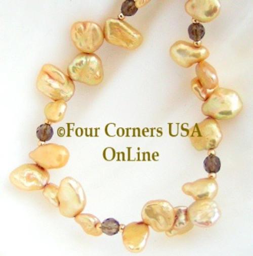 Natural Goldtone Keshi Freshwater Pearls Smokey Topaz Beaded Necklace Four Corners USA OnLine Artisan Jewelry FCN-10106