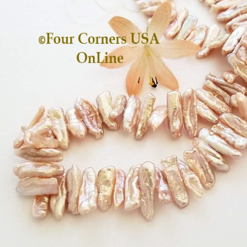 Mauve Freshwater Biwa Stick Pearl Center Drill Bead Strands Four Corners USA OnLine Jewelry Making Beading Craft Supplies