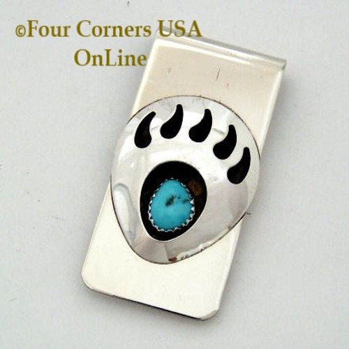 Large Bear Paw Turquoise Sterling Silver Money Clip Native American Navajo Virginia Long NAM-09114 Four Corners USA OnLine