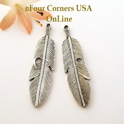 Feather Antique Silver Plated Jewelry Components 4 Pieces Closeout Final Sale Four Corners USA OnLine Designer Jewelry Making Beading Craft Supplies