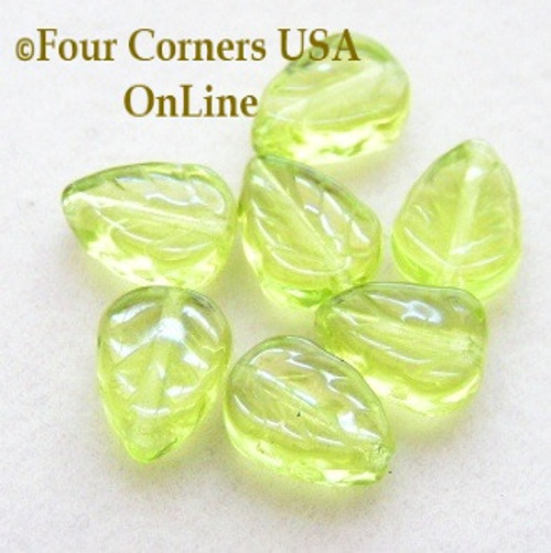 Czech Glass 10mm Light Olivene Leaf Beads 24 Piece Package Closeout Final Sale  Four Corners USA OnLine Jewelry Making Beading Craft Supplies