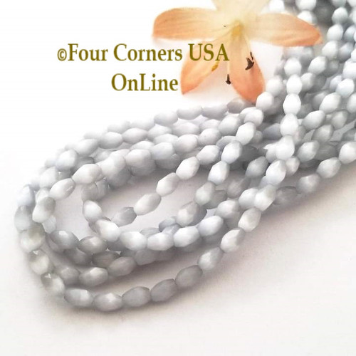 Cats Eye Silver Gray Optics Faceted 6mm Rice 15 Inch Bead Strand Four Corners USA OnLine Designer Jewelry Making Beading Craft Supplies