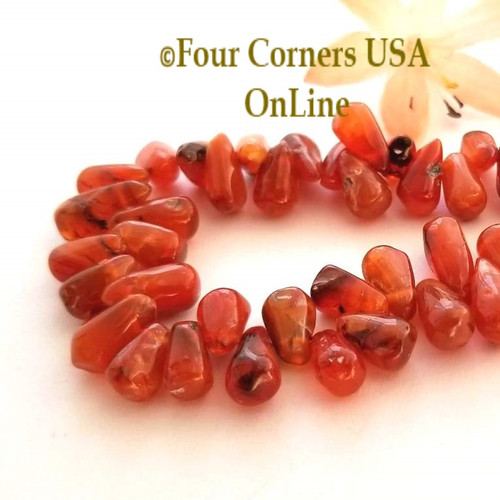 Carnelian Top Drilled Teardrop Bead Strands Closeout Final Sale GEM-11053 Four Corners USA OnLine Jewelry Making Beading Craft Supplies