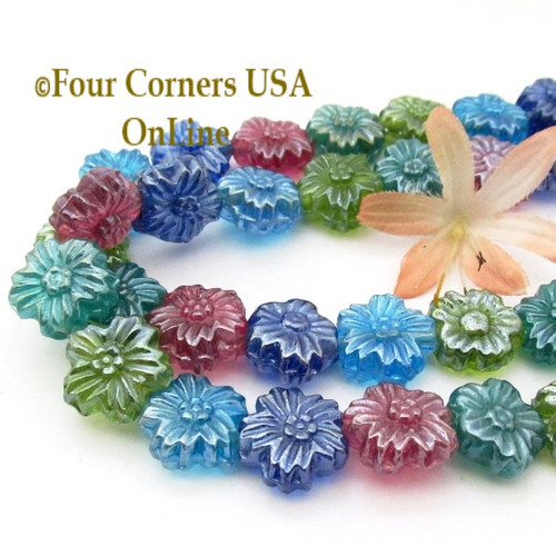 Colorful Pressed Glass Floral Design 16 Inch Bead Strand Closeout Final Sale GL-09073 Four Corners USA OnLine Jewelry Beading Craft Supplies