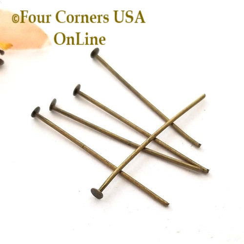 Antiqued Brass 1 1/4 inch Head Pin Jewelry Finding Component Closeout Final Sale Four Corners USA OnLine Jewelry Making Beading Craft Supplies
