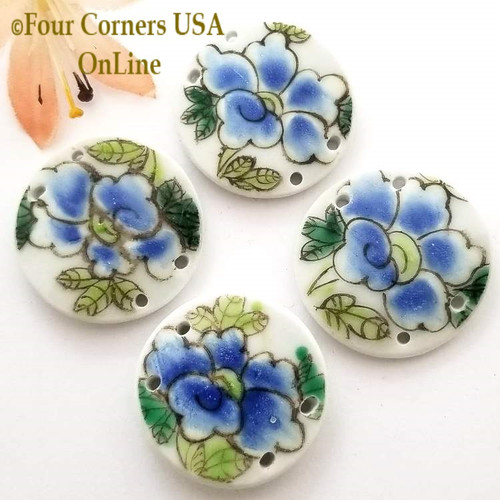 30mm Blue Floral Painted Porcelain 4 Hole Jewelry Connector Four Corners USA OnLine Jewelry Making Beading Craft Supplies