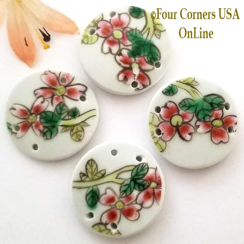 30mm Red Floral Painted Porcelain 4 Hole Jewelry Connector Four Corners USA OnLine Jewelry Making Beading Craft Supplies