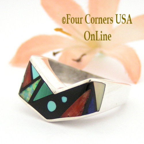 Size 8 1/4 Multi Stone Multi Color Inlay Ring Native American Wearable Art NAR-09501 Four Corners USA OnLine