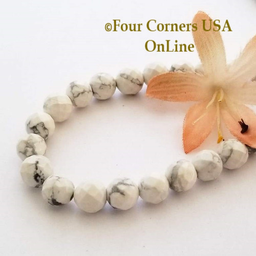 Howlite Faceted 8mm Round 16 Inch Bead Strand Four Corners USA OnLine Designer Jewelry Making Beading Craft Supplies