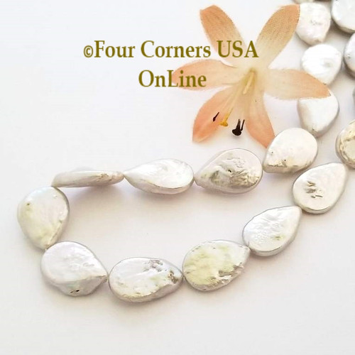 Silver Teardrop Freshwater Pearl Bead Strands Jewelry Supplies Closeout Final Sale P-09048 Four Corners USA OnLine Jewelry Making Beading Craft Supplies