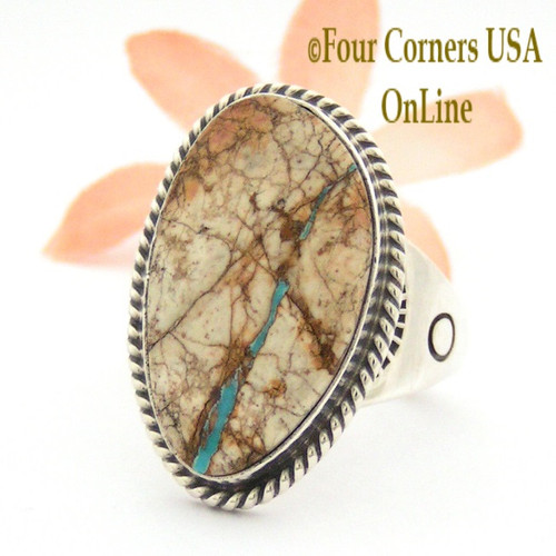 Ribbon Turquoise Sterling Ring Size 11 3/4 Navajo Artisan John Nelson Four Corners USA OnLine Native American Indian Jewelry NAR-09504