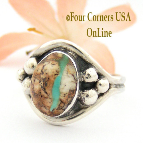 Boulder Ribbon Turquoise Ring Size 11 1/2 Navajo Artisan Bobby Piaso Four Corners USA OnLine Native American Jewelry NAR-09512