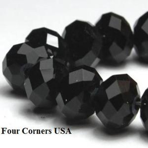 Black Opaque 8mm Rondelle Crystal 8 inch Bead Strands Approx 36 Beads - Closeout Final Sale (GL-Jet6x8)