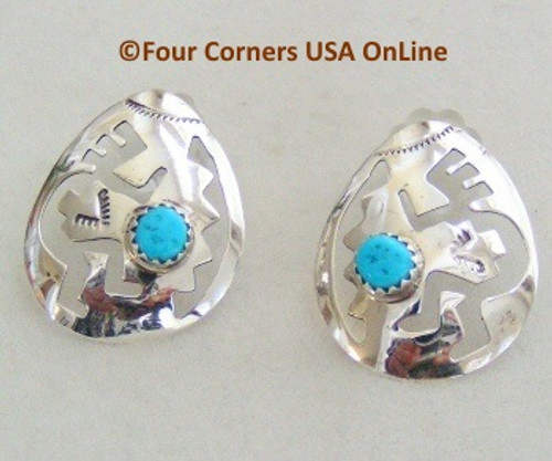 Sleeping Beauty Turquoise Kokopelli Sterling Earrings Four Corners USA OnLine Native American Navajo Silver Jewelry NAER-09193