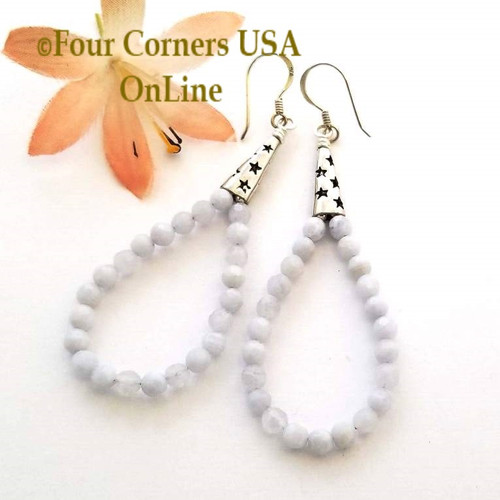 Blue Lace Agate Wish Upon a Star Hoop Sterling Silver Pierced Earrings On Sale Now FCE-11012 Four Corners USA OnLine Artisan Handcrafted Jewelry
