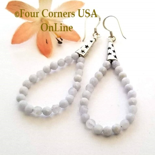 Blue Lace Agate Wish Upon a Star Hoop Sterling Silver Pierced Earrings FCE-11012 Four Corners USA OnLine Artisan Handcrafted Jewelry
