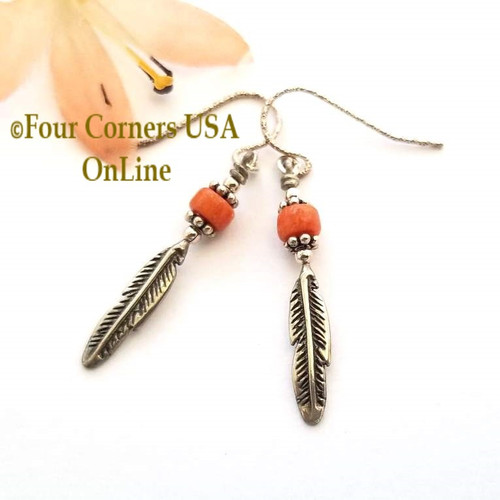 Natural Orange Apple Coral Sterling Silver Feather Drop Earrings FCE-11008 Four Corners USA OnLine Artisan Handcrafted Jewelry