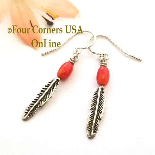Natural Red Mediterranean Coral Sterling Silver Feather Drop Earrings On Sale Now FCE-11014 Four Corners USA OnLine Artisan Handcrafted Jewelry
