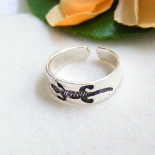 Alligator Sterling Silver Adjustable Toe Ring