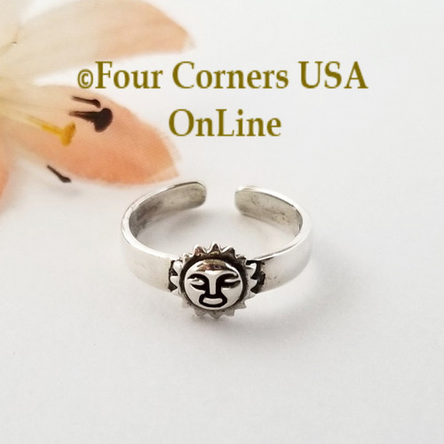Sun Face Sterling Silver Adjustable Toe Ring Closeout Final Sale Four Corners USA OnLine Artisan Jewelry