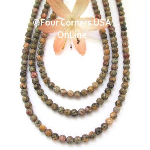 Leopardskin Jasper 4mm Smooth Round Bead Strands G-12004-4m Four Corners USA OnLine Jewelry Making Beading Crafting Supplies