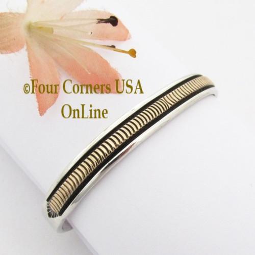 14K Gold and Silver Cuff Bracelet Native American Bruce Morgan NAC-09412A Four Corners USA OnLine Navajo Jewelry