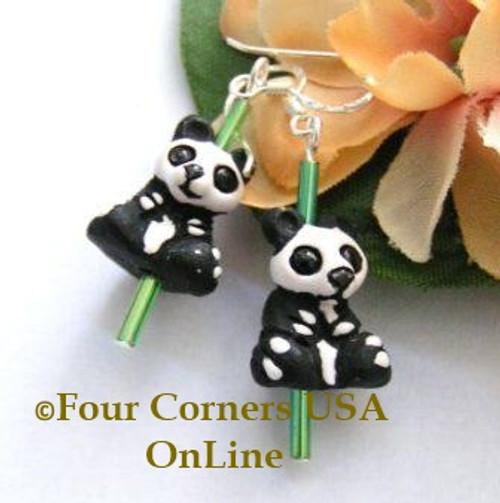 Panda Bear Glazed Ceramic Handcrafted Sterling Silver Earrings On Sale Now FCE-12012 Four Corners USA OnLine Artisan Jewelry