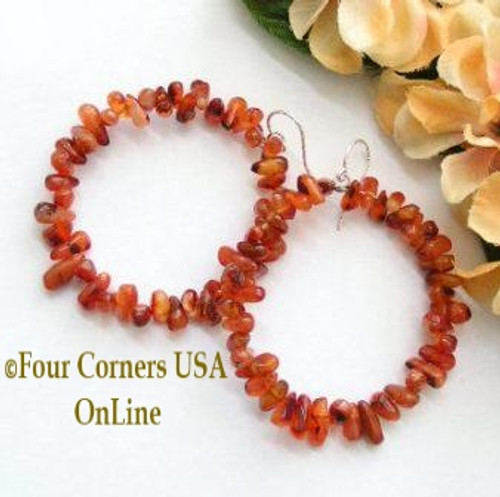 Handcut Carnelian Teardrop Large Beaded Hoop Textured Sterling Silver Pierced Earrings FCE-12018 Four Corners USA OnLine Artisan Handcrafted Jewelry
