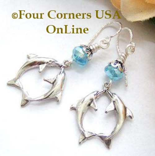 Kissing Double Dolphin Deep Blue Ocean Sterling Silver Earrings On Sale Now FCE-12019 Four Corners USA OnLine Artisan Handcrafted Jewelry