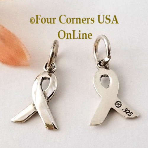 Awareness Ribbon Sterling Silver Charm Jewelry Making Component Four Corners USA OnLine Jewelry Supplies
