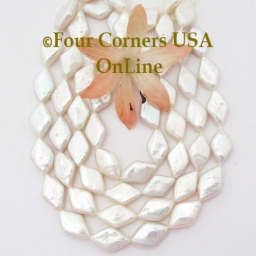 14mm Diamond Shape High Luster White Freshwater Pearls Bead Strands Four Corners USA OnLine Jewelry Making Beading Supplies P-09049