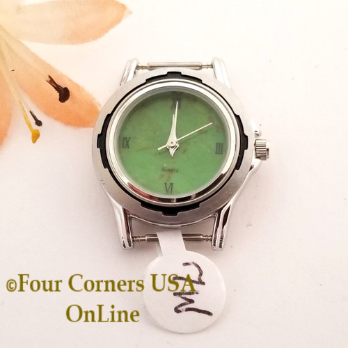 Women's 7W Mohave Green Kingman Turquoise Stone Stainless Watch Face 12mm pin NAWF-MG-7W Closeout Final Sale Four Corners USA OnLine Southwest Jewelry Supplies