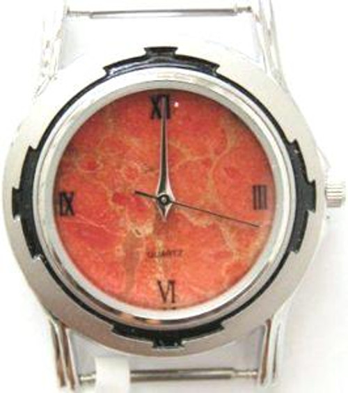 Men's Natural Apple Coral Etched Stainless Watch Face - #11M