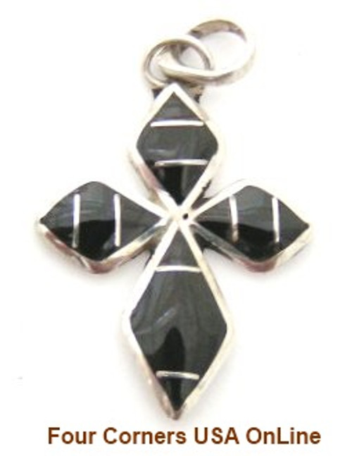 On Sale Now Onyx Sterling Silver Inlay Cross Native American Zuni Hancrafted by James Kee NACR-09120 Four Corners USA OnLine