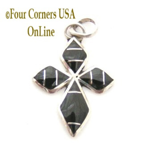Onyx Sterling Silver Inlay Cross Native American Indian Zuni Hancrafted by James Kee NACR-09120 Four Corners USA OnLine