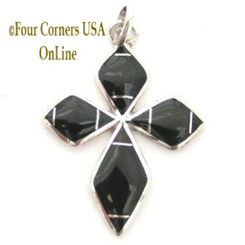 Onyx Inlay Cross in Sterling Silver Native American Indian Zuni Handcrafted by James Kee NACR-09118 Four Corners USA OnLine Jewelry Store